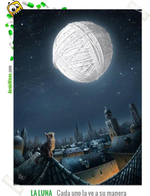 Chiste de gato: La luna como ovillo