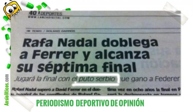 "Chiste de recorte de periódico: ""Puto serbio"" de Djokovic"